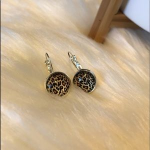 Leopard Print Cabochon Earrings